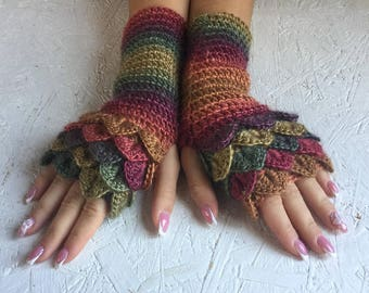 fingerless gloves  crochet gloves Fingerless  women fingerless gloves Dragon Scale women's gloves women's Arm Warmers winter gift Accessory