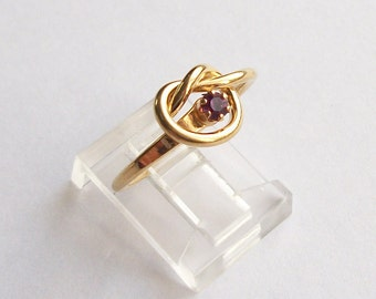 Destash Vintage Ring Vintage Jewelry Gold Colored Ring Promise Knot Ring Purple Ring Gold Toned Vintage Ring Size 6 Ring Vintage