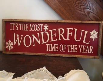 Its the most Wonderful Time of the Year Sign, Christmas Sign, Wood Christmas Sign, Rustic Wood Sign, Farmhouse Sign, Painted Wood Sign,
