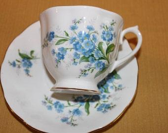 Royal Albert Tea Cup Forget Me Not Blue, English Tea Cup Bone China Tea Set, Porcelain China Tea Set, Bridal Tea Party