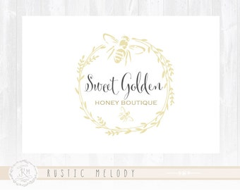 Bee Logo Design Honey Logo Design Boutique Logo Photography Logo Watermark Logo Rustic Logo