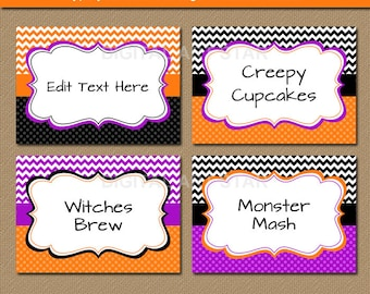 EDITABLE Halloween Chevron Food Labels, Printable Buffet Cards, Halloween Tent cards, DIY Candy Buffet Labels - Halloween Labels - INSTANT