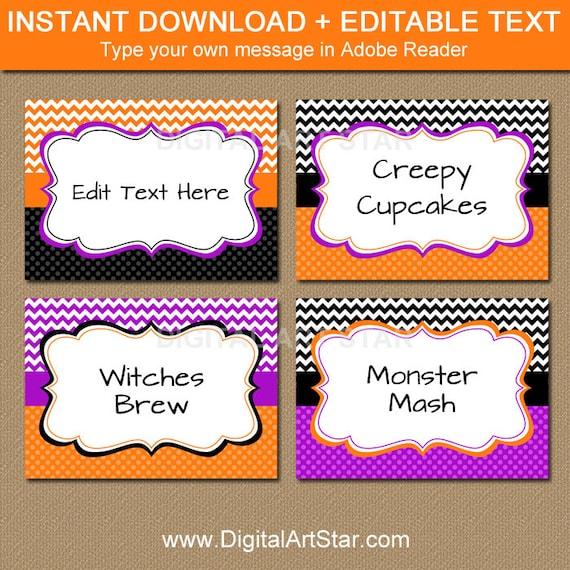 editable halloween chevron food labels printable buffet. Black Bedroom Furniture Sets. Home Design Ideas