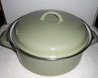 DISCOUNTED Vintage 1970s Enamel Steel Dutch Oven/Jus Pot/Made in Germany Stock Pot/Stew Pot/Stove Top Steel Enamel Dutch Oven/German Stock P