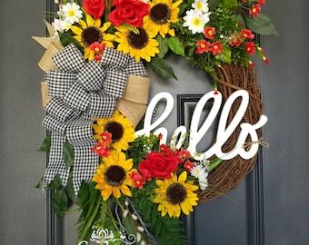 Summer Wreath,Sunflower Wreath,Year Round Wreath,Front Door Wreath,HELLO  Wreath