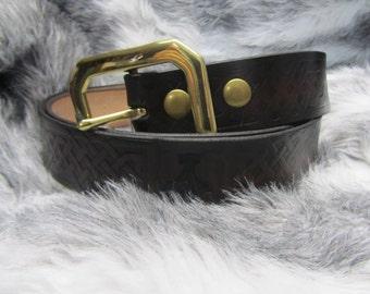 Customizable 1 3/4 inch, Large Celtic Braid Design Leather Work, Casual, or Kilt Belt