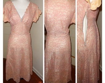 """True vintage Early 1930's lace mauve dress 36"""" bust 32 """" waist fully lined Medium"""