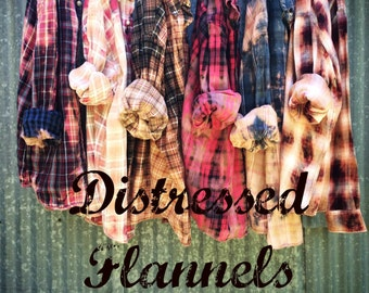 Flannel Shirt - Vintage Washed Flannel - Oversized Flannel - Distressed Flannel - Plaid Shirt - Bleached Flannel