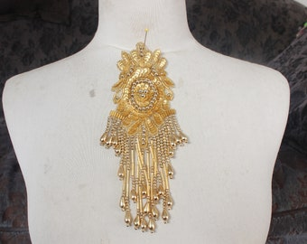 Cute  beaded and   embroidered  applique with  sequence  gold color   1 pieces listing