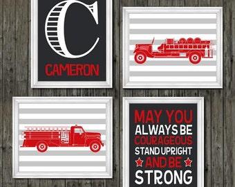 Fire truck nursery, fire trucks, boys, name print, boys personalized nursery wall art, boys nursery decor, red nursery, transportation decor