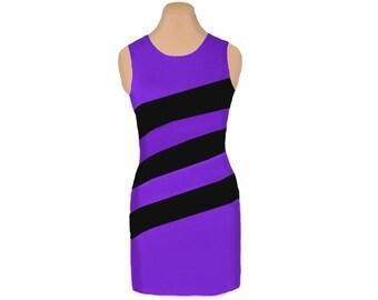 Purple + Black Diagonal Stripe Dress