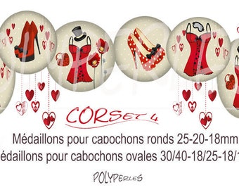 Collage digital round cabochons and CORSET 4 ovals