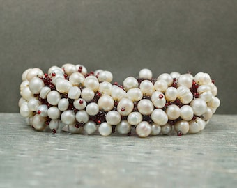 Pearl Bracelet, Beaded Bracelet, Nature Jewelry, Bohemian Jewelry, Gift for Her, Anniversary Gift