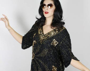Vintage Sequin Blouse. Black Gold Sequin Top. Disco Shirt. Disco Blouse. 70s Sequin top. Black Gold disco blouse. Sequin 70s shirt