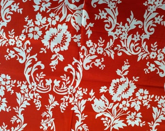 Red jacquard cotton, red and white, remnant piece only