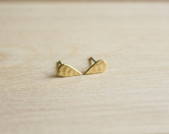 Tiny Hammered Teardrop Earring Studs in Raw Brass, Stainless Steel Posts