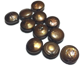Bronze Champagne Freshwater Coin Pearls 12mm 12 pieces