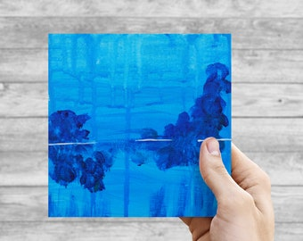 Ghostly Blue - ORIGINAL 6x6 Acrylic on Canvas Board