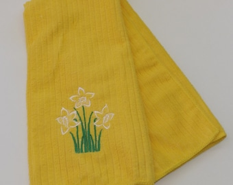 Embroidered Daffodil Kitchen Towel in Choice of Colors