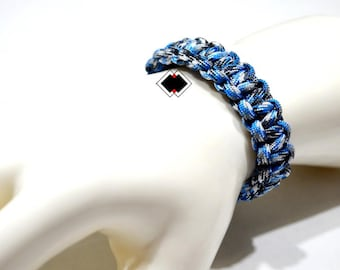 paracord survival bracelet blue camo handmade in USA