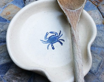 Ceramic Spoon Rest Cream Color with Maryland Blue Crab, Ready to Ship