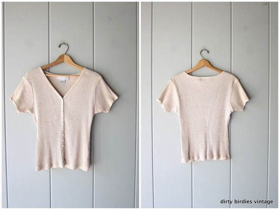 Vintage 90s Knit Top   Beige Ribbed Tee Button Up Short Sleeve Minimal Knit Shirt Preppy Modern Basic Knit Blouse Womens Large