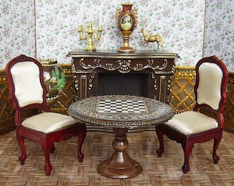 Wooden chess Table and chess figures in a set. Handcrafted miniature. For doll House. 1:12 Scale