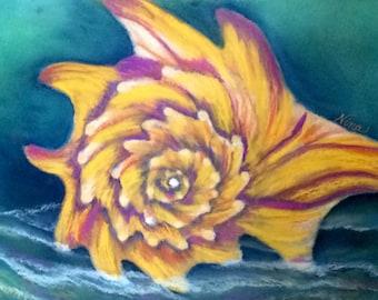 "Pastel drawing sea shell  ocean water beach sand yellow blue art 12""x12"""