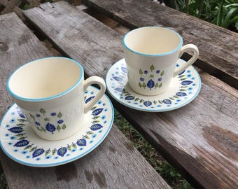 Sale.. Stetson Marcrest Alpine Swiss Chalet Coffee Cups and Saucers. Green &  Blue Nordic Leaf. Set of 2. 1960's Mid Century Modern Kitchen.