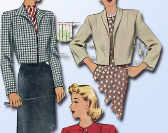 1940s Vintage McCall Sewing Pattern 6458 Uncut Misses Jacket Bolero Set Sz 30 B
