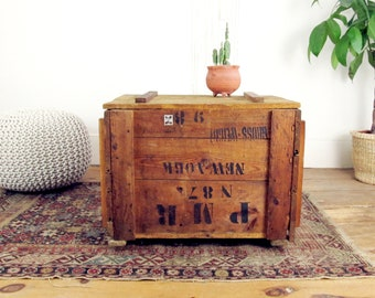 Wood Coffee Table,industrial Coffee Table,rustic,industrial Shipping  Crate,storage Trunk