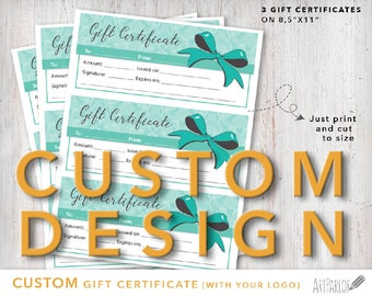 CUSTOM Gift Certificate with Logo insertion, Gift Certificate Design, Custom Coupon, Print at home, DIY Printable Coupon, Custom Coupon