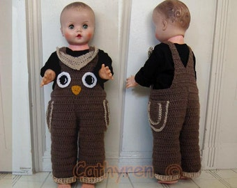 Baby Owl  Overalls,Halloween Costume, Buttons at Legs for Easy Change - INSTANT DOWNLOAD Crochet Pattern