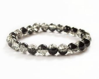 Mens Bracelet BlACK GLASS 8mm UNISEX Natural Bracelet Chakra Energy Yoga Bracelet Meditation Health Chains Bracelet Energy