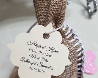 Personalized Favor Tags 2x2'', Wedding tags, Thank You tags, Favor tags, Gift tags, hugs and kisses from mr and mrs