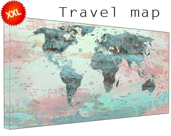 world map with pins canvas wall art art print large  world map with pins with countries home Office Decor print on canvas wall art