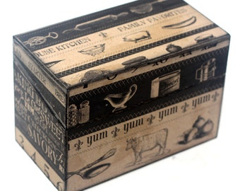 Wood Recipe Box Barn Wood Black and Brown Cooking Words Kitchen Storage Fits 4x6 Recipe Cards