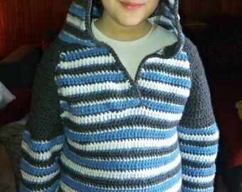 Ready for shipping Handmade crochet boy hood sweater Crochet boy hoodie Crochet boy stripe sweater Handmade boy hoodie Crochet sweater