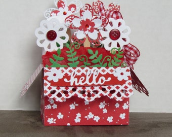Pop Up basket flower Box Card, Any Occasion, handmade card,  greeting card, card in a box, three dimensional, paper crafts, hello, red