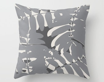 Grey Throw Pillow, Leaf pillow cover with insert, grey tropical leaves pillow, grey cushion cover, leaves pillow, tropical pillow