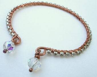 Hammered Copper Rhinestone Wire Wrapped Bangle Bracelet