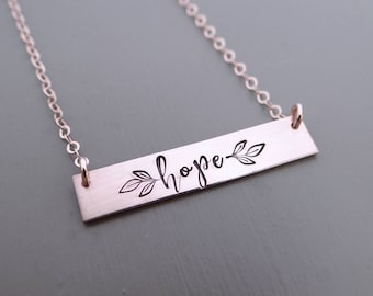 Hope Inspirational Bar Necklace, Name Necklace, Quote Bar Necklace, Gold Bar, Silver Bar, Rose Gold Bar Necklace. Always Hope, With Leaves