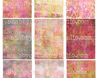 INSTANT DOWNLOAD Digital ATC aceo Tags Backgrounds Painted No. 2 Pinks