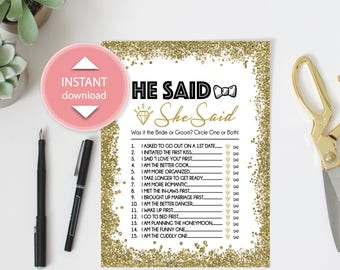 He said, She said - Bridal Shower Game (Instant Download)