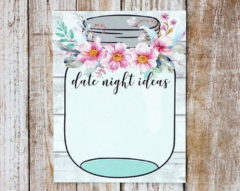 Date Night Cards - Date Night Ideas - Boho Bridal Shower Floral - Mason Jar Suggestion Card - Ready to Ship