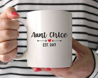 New Aunt Gift for Sister Aunt Pregnancy Reveal Sister Aunt Pregnancy Announcement Sister Aunt Mug Birth Announcement Aunt Coffee Mug Red