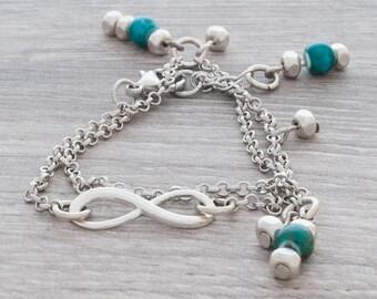 dainty bracelet, dainty jewelry, simple bracelet, everyday bracelet, chain bracelet, infinite charm bracelet for women