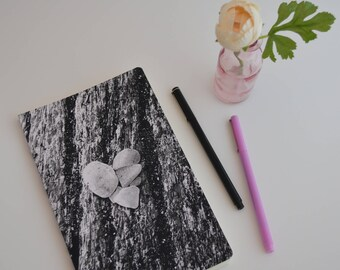 Inspirational Dot Grid Notebook Bullet Journal Gift, Black and White Heart, Rumi Quote Journals