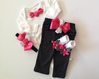 Newborn baby girl Take Home outfit hot pink and black polka dots pants bodysuit socks headband rosettes bows