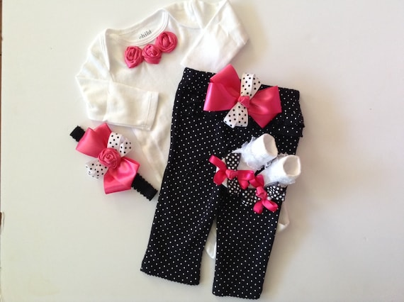 Newborn Baby Girl Take Home Outfit Hot Pink And Black Polka